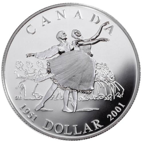 Moneda de plata 1 Dollar Canada 2001 Ballet. Proof.
