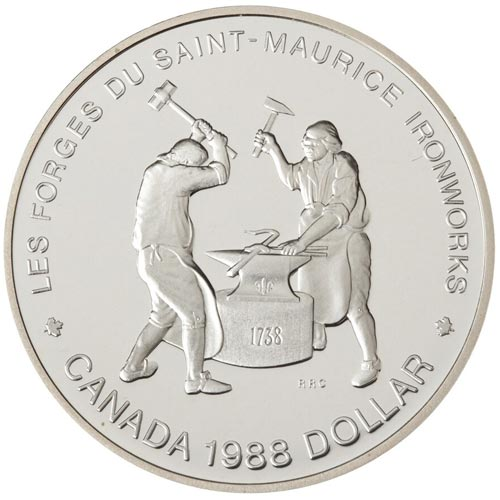 Moneda de plata 1 Dollar Canada 1988 Herreros. Proof.