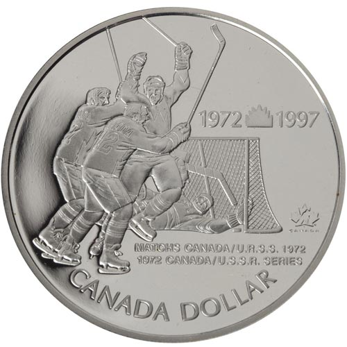Moneda de plata 1 Dollar Canada 1997 Hockey. Proof.