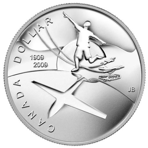 Moneda de plata 1 Dollar Canada 2009 Centenario Aviación. Proof.