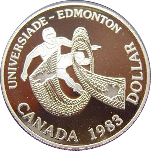 Canada 1$ 1983 Universiada Edmonton. Plata Proof.