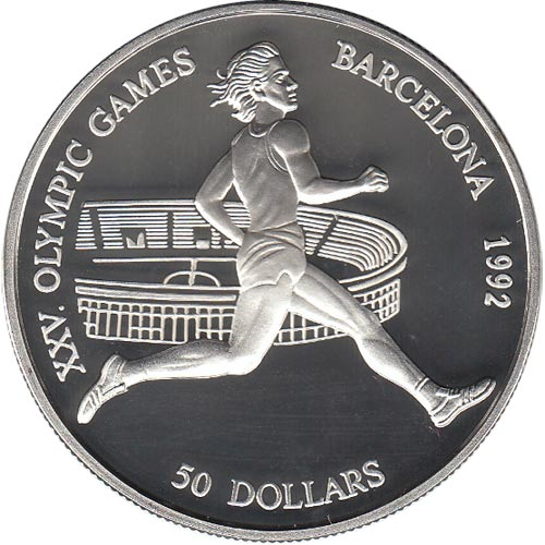 Moneda de plata 50 Dolares Cook Islands 1990 Barcelona 92.