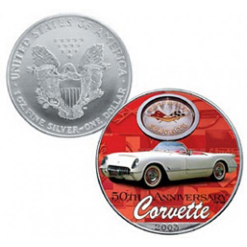 Moneda de plata colorizada 1$ Estados Unidos Corvette 2003
