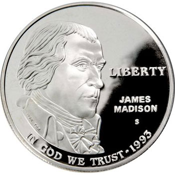 Moneda de plata 1$ Estados Unidos James Madison 1993