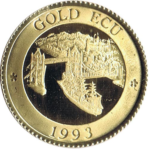 Moneda de oro Gold Ecu Gran Bretaña 1993 Tower Bridge. 4.3 gr.
