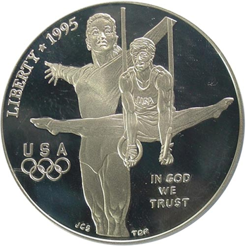 Moneda de plata 1$ Estados Unidos Atlanta Gimnasia 1995. Proof.