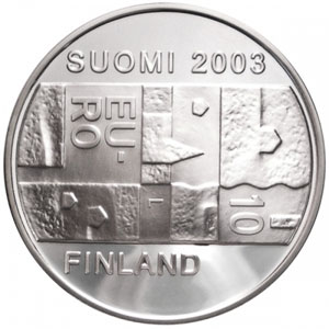 moneda Finlandia 10 Euros 2003 (Chydenius) (estuche proof)