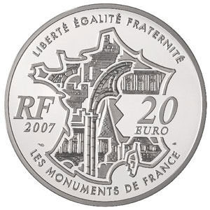 Moneda Francia 20 euro 2007 Pont Neuf. Proof.