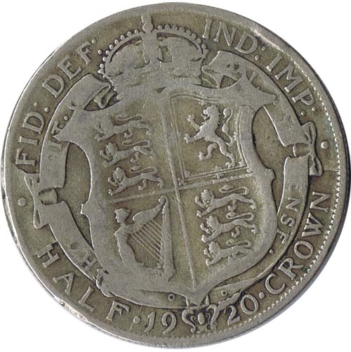 Moneda de plata Half Crown Inglaterra 1920. George V.