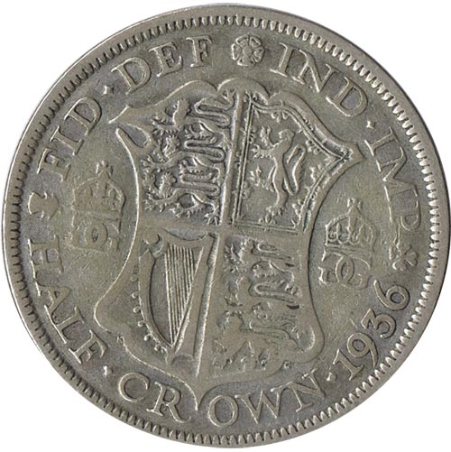 Moneda de plata Half Crown Inglaterra 1936. George V.