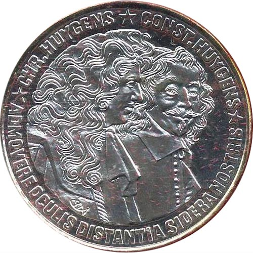 Moneda de plata 25 Ecu Holanda 1989 Huygens. Proof.