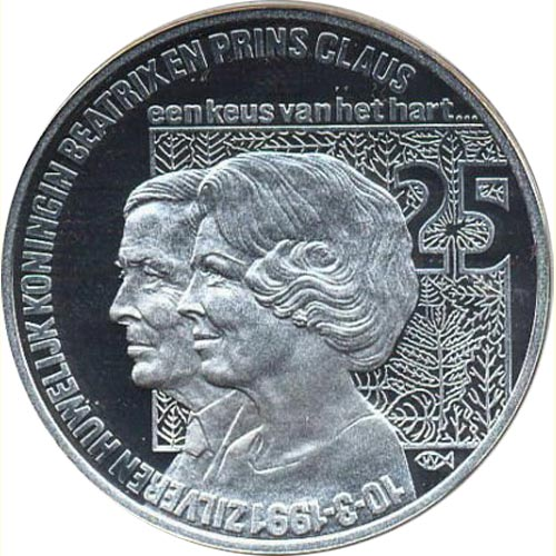 Moneda de plata 25 Ecus Holanda 1991 Beatrix. Proof.
