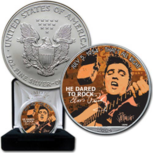 "Moneda de plata 1$ Estados Unidos Elvis ""that's all right"" 2004"
