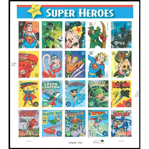 Comics. USA 2005 DC Comics Super Heroes. 20 sellos