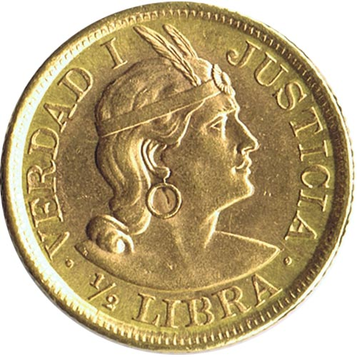 Moneda de oro Media libra Republica Peruana Lima 1962.