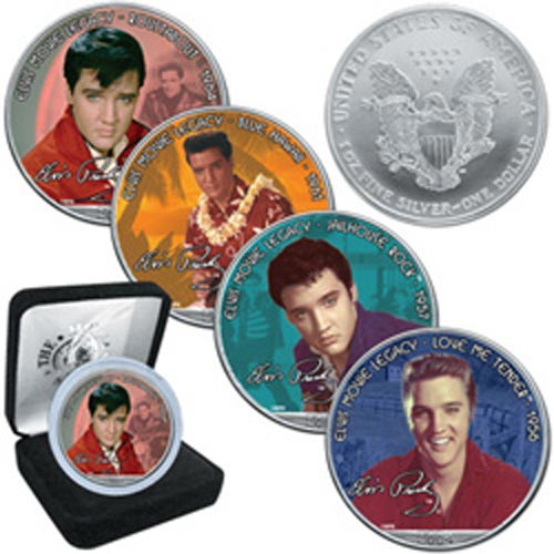 "Moneda de plata 1$ Estados Unidos Elvis ""Blue Hawai"" 2005"