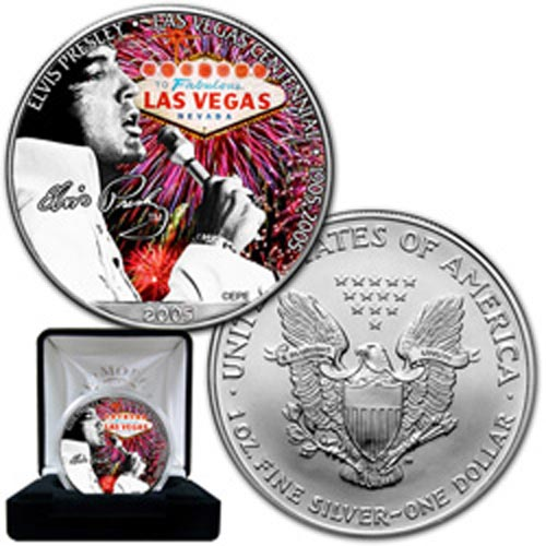 "Moneda de plata 1$ Estados Unidos Elvis ""in vegas\"" 2005"