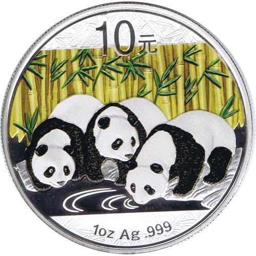 Moneda onza de plata color 10y. China Oso Panda 2013