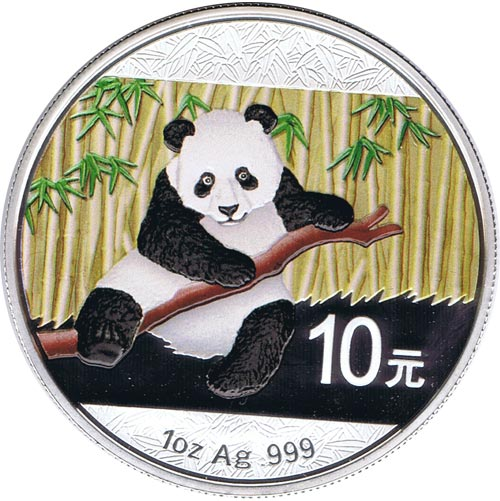Moneda onza de plata color 10y. China Oso Panda 2014
