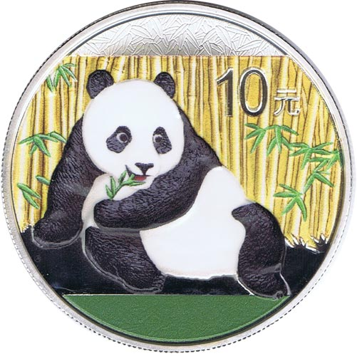 Moneda onza de plata color 10y. China Oso Panda 2015