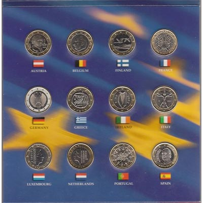 Monedas 1 euro 12 paises y 1/4 dollar USA 2002