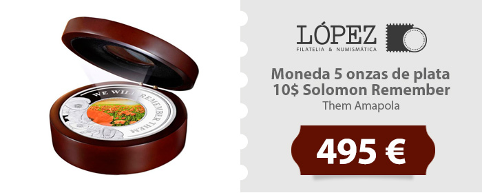 Oferta Moneda 5 onzas de plata 10$ Solomon Remember Them Amapola