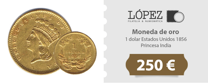 Oferta Moneda de oro 1 dolar Estados Unidos 1856 Princesa India