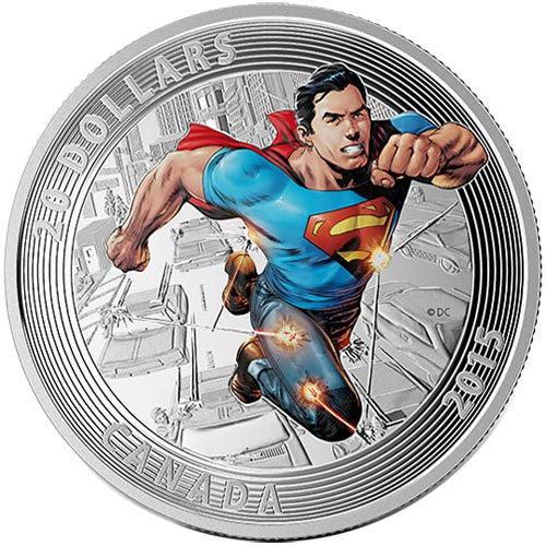 Moneda de plata coloreada 20$ Canada Superman Action Comics 15