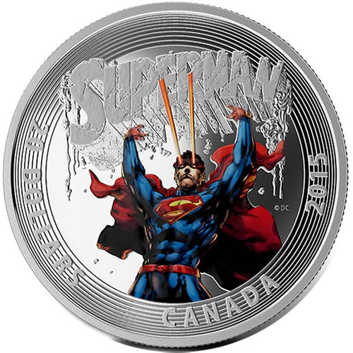 Moneda de plata coloreada 20$ Canada Superman 2015