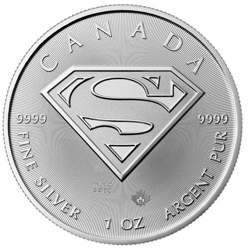 Moneda onza de plata 5$ Canada Superman 2016.